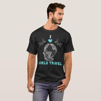 I Love World Travel Globe Planes Vacation T-Shirt