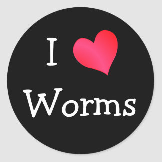I Love Worms Classic Round Sticker