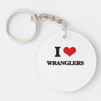 I love Wranglers Single-Sided Round Acrylic Keychain