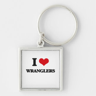 I love Wranglers Silver-Colored Square Keychain