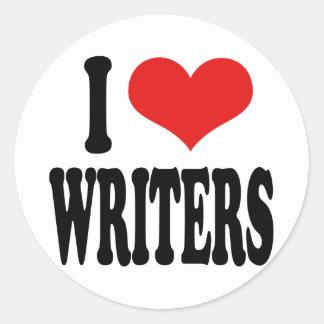 I Love Writers Round Sticker