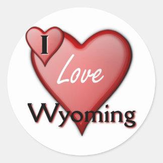 I Love Wyoming Round Stickers