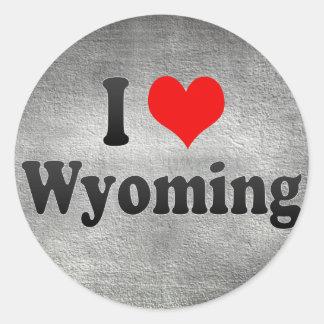 I Love Wyoming, United States Round Sticker