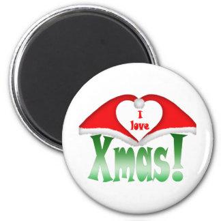 I love Xmas! 2 Xmas forming a heart Fridge Magnets