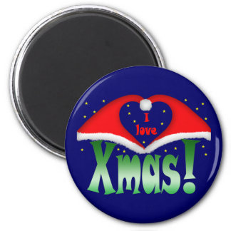 I love Xmas at night with stars 6 Cm Round Magnet