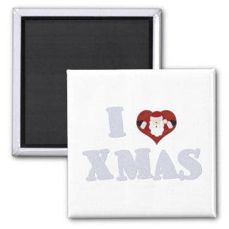 I Love Xmas Square Magnet