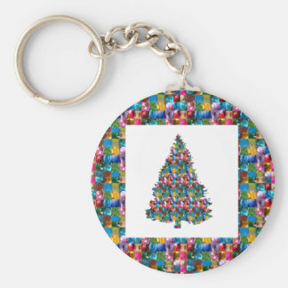 I LOVE XMAS : TREE jadded with PEARL JEWEL GEMS Key Ring