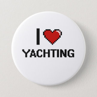I Love Yachting Digital Retro Design 7.5 Cm Round Badge