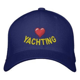 I love yachting with heart graphic baseball cap