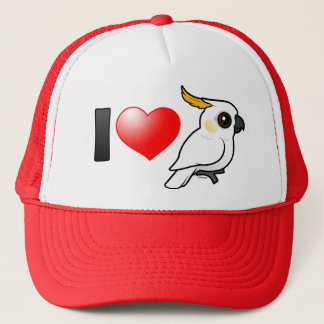 I Love Yellow-crested Cockatoos (down) Trucker Hat