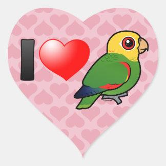 I Love Yellow-headed Amazons Heart Stickers