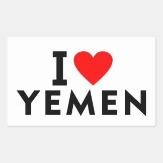 I love Yemen country like heart travel tourism Rectangular Sticker