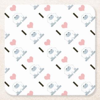 I Love Yeti Square Paper Coaster