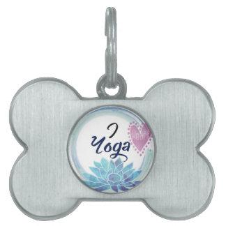 I Love Yoga Art Pet ID Tags