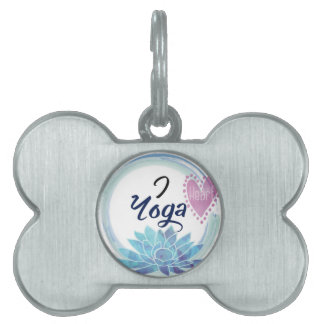 I Love Yoga Art Pet Name Tag
