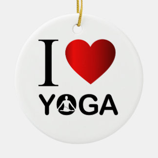 I love yoga ceramic ornament