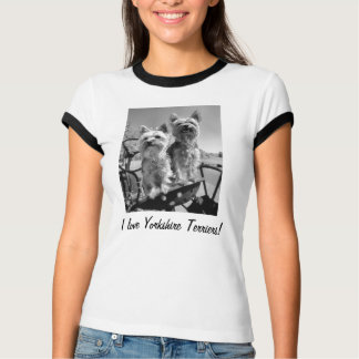 I love Yorkshire Terriers! Black and White T-Shirt