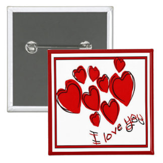 I Love You 15 Cm Square Badge