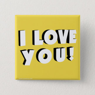 I love you! 15 cm square badge