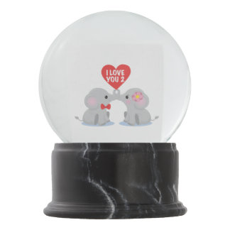 I love you 2 elephants snow globe