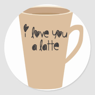 I love you a latte round sticker