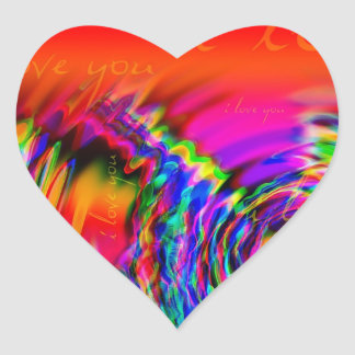 """I Love You"" abstract design Heart Sticker"
