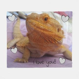 I love you Adorable Bearded Dragon Photo Print Fleece Blanket