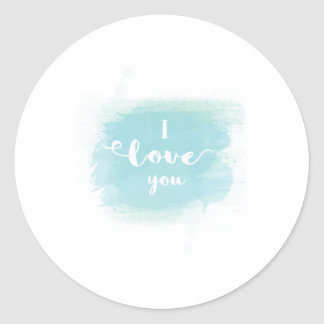 """I love you"" baby blue calligraphy watercolor Classic Round Sticker"