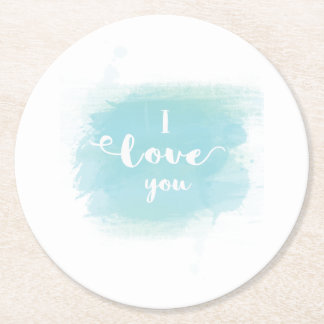 """I love you"" baby blue calligraphy watercolor Round Paper Coaster"