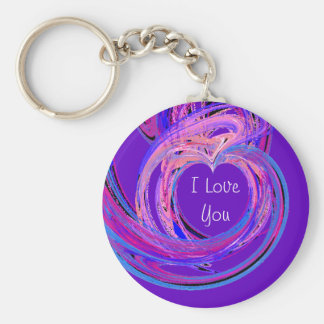 I Love You Basic Round Button Key Ring