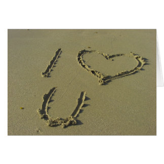 I love you - beach sand writing Greeting card
