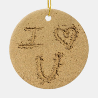 I Love You Beach Sand Writing Round Ceramic Decoration