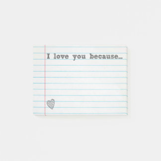 """I love you because..."" fill in the blank note"