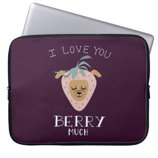 """""""I Love You BERRY Much"""" Strawberry Dog Pun Laptop Sleeve"""