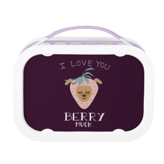 """""""I Love You BERRY Much"""" Strawberry Dog Pun Lunch Box"""