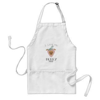 """""""I Love You BERRY Much"""" Strawberry Dog Pun Standard Apron"""