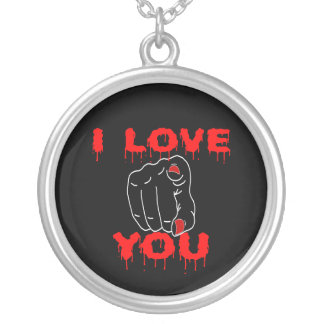 I Love You Black Silver Plated Necklace