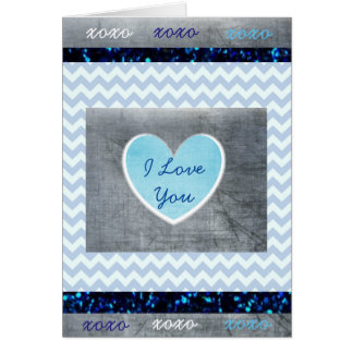 "'I Love You"" Blue and Gray Masculine Card"