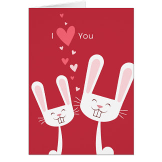 I Love You Bunny Rabbits red Valentine Cards