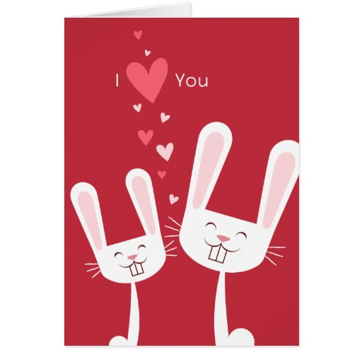 I Love You Bunny Rabbits (red) Valentine Cards