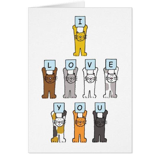 I love you cartoon cats. card