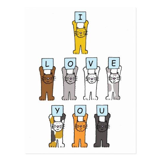 I love you cartoon cats. postcard