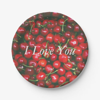 I Love You - Cherry design Paper Plate