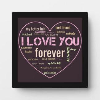 I love you couples word art decor plaque
