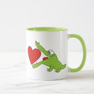 I love you, Cute Crocodile with a Heart Mug