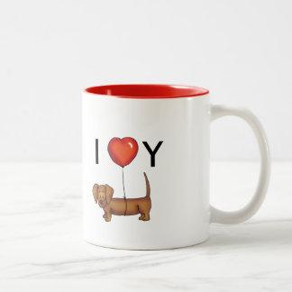 I love you - Cute Dachshund Valentines' Day gift Two-Tone Coffee Mug