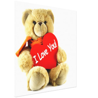 I love you cute  lovely teddy bear with red scarf gallery wrapped canvas