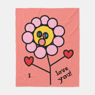 I love you Cute Pink Flower Drawing with Red Heart Fleece Blanket