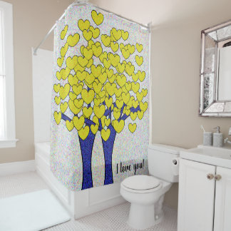 I love you Cute Sparkly Gold Hearts Blue Trees Shower Curtain