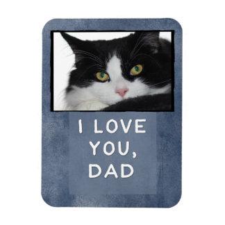 I Love You, Dad Dark Blue Custom Cat Photo Magnet